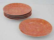 "Vintage Set of 6 Tashiro Shoten 7"" Salad Plates Orange Lustre Made in Japan"
