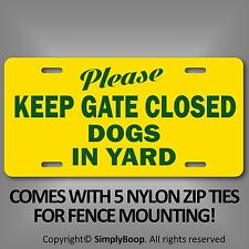 """Beware of Dog Keep Gate Closed Sign 100% Aluminum Brand New 6"""" x 12"""" Green Text"""