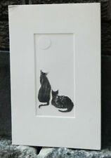 Moon Watching  Woodcut/Collage Original Print by Artist Joan Smith Dunbogan