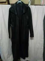 Manteau long noir en cuir taille 38/40 en cuir de mouton pleine fleur pigmentée