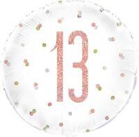 "18"" Rose Gold Glitz 13 Foil Balloon Girls 13th Birthday Party Decoration Helium"
