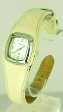Fossil ES9760 ladies cushion case watch white leather ES-9760 analog 5 ATM