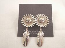 Sterling Silver Navajo Handmade Sun Face Dangle Earrings