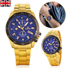 MENS DATE ARMY MILITARY WATCH GOLD STAINLESS STEEL QUARTZ ANALOG WRIST WATCH