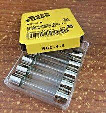 5 pcs  AGC4R AGC-4-R BUSS BUSSMANN FUSES 4A 250V  Fast Acting R=Rohs compliant