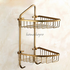 2 Tier Antique Brass Corner Shelf Organizer Bathroom Kitchen Storage Rack Holder