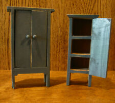 """Doll/Teddy Miniature Blue Wood Furniture, 2 CANNING CUPBOARDS, 6.25"""" & 5.75"""""""
