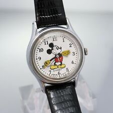 Disney Lorus Quartz Mickey Mouse Ladies Wrist Watch Black Lizard V515-6128