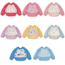 Cartoon Apron For Baby Feeding Burp Cloths with Long Sleeves Kids Saliva Towel