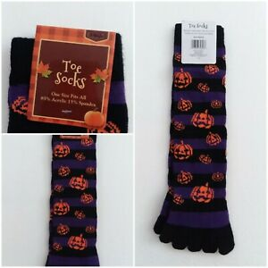 Halloween Toe Socks JACK-O-LANTERN Orange BLACK Cat STAR Moon FALL OSFA