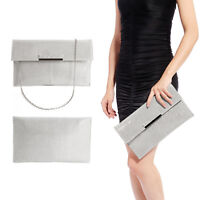 LADIES SILVER SHIMMER GLITTER BRIDAL PARTY EVENING PROM ENVELOPE CLUTCH BAG
