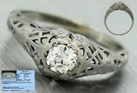 $2,380 Art Deco 18K Gold 0.41ct Diamond Filigree Floral Engagement Ring EGL USA