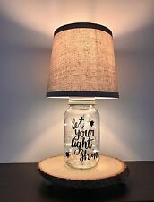 Firefly Mason Jar Rustic Lamp Real Tree Base LED lights Vintage Lightning Bug
