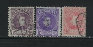 SPAIN - 1902-1905 KING ALFONSO XIII USED STAMPS WITH BLUE CONTROL NUMBERS