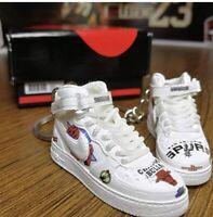 MINI 3D SNEAKER AIR FORCE 1 Mid Supreme High NBA White pair (2 mini keychains)