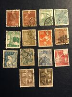 Rare Japan 1944-1949 Workers Series Stamps, 14 Pcs,canceled , 2 Pcs Hinged