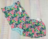 Gap Girls 0-3 Months Bright Tropical Fruit Shirt & Bloomer Shorts Outfit. Nwt
