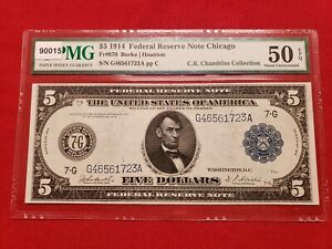 1914 $5 Federal Reserve Note Chicago Fr#870 Pmg 50 Epq