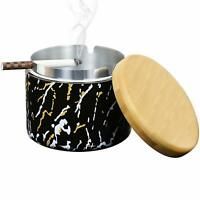 Ceramic Ashtray with Lid Windproof Handmade Home Outdoor Ashtrays for Cigarettes