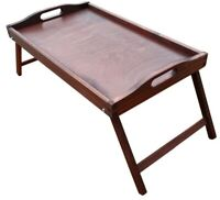 Wooden Breakfast Food Serving Lap Tray With Folding Legs For Bed in Brown Color