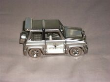 WM WIDDOP DIE CAST SILVER TONE MINIATURE LAND ROVER JEEP CAR QUARTZ CLOCK MODEL