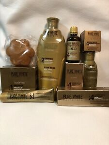 PURE WHITE GOLD GLOWING SET: Lotion 400ML , Serum , Soap, Cream,Tube, Oil 100ML