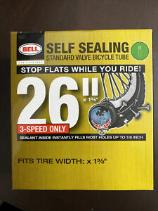 """BELL 26"""" inch Bike Tube 26 x 1.375 1 3/8 Bicycle Rubber Tire Interior Self Seal"""