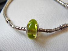 AUTHENTIC PANDORA Sterling Silver & Murano Glass GREEN STARS Charm