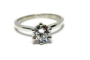 platinum CZ 1ct round 6.5mm six prong solitaire engagement ring 3.76g estate