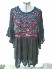 NEW! BOHO UMGEE Black Floral Embroidered Dress Size 1XL