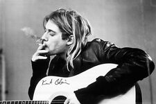Kurt Cobain Smoking Guitar Celebrities Music Photo Poster Art Print 24x36