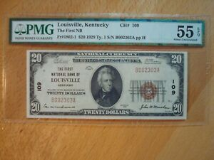 1929 LOUISVILLE KY KENTUCKY $20 NATIONAL CURRENCY BANK NOTE #109 AU 55 EPQ PMG