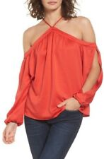 Love Fire Top Split Sleeve Off the Shoulder Poppy Red Sz Large JR  NWT 1745