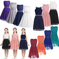 Flower Girls Dress Princess Party Lace Chiffon Bridesmaid Wedding Gown Prom Ball