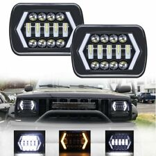 7x6'' 5x7'' LED Headlight Square Arrow Angel Eyes DRL Turn Signal lamp Fit Jeep