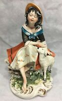 "Capodimonte Figurine 10"" Girl & Lamb Woman Sheep"