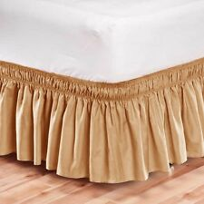 Elastic Bed Skirt Dust Ruffle Easy Fit Wrap Around Tan Color Full Size