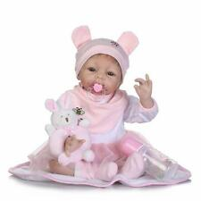 """New 22"""" Realistic Lifelike Adorable Reborn Real born Baby Doll Girl + Rabbit Toy"""