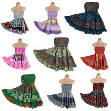 Gypsy  Boho Mini Skirt Summer Bandeau Dress Skater Poly Silk Beach 8 10 12 14 16