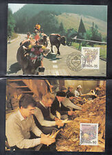 A-70) 3 Maxi Cards Liechtenstein - Return Alpine, Corncob Peeling, Cattle Market