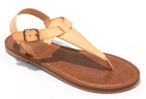 Universal Thread Womens Tan Faux Leather Lady Toe Thong Summer Sandals Vegan NEW