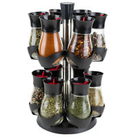 Contemporary Gourmet Revolving 12-Jar Two Tier Spice Rack, Black EBY56287
