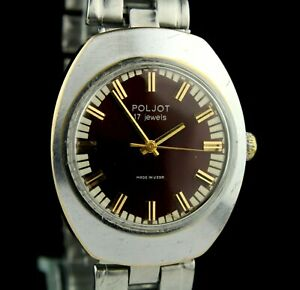 Vintage Soviet Mechanical Wristwatch POLJOT 2609.H 17 Jewels SERVICED USSR CCCP☭