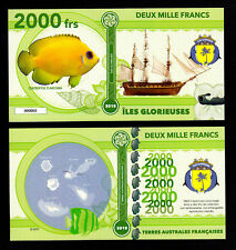 ILES GLORIEUSES ● TAAF / COLONIE ● BILLET POLYMER 2000 FRANCS ★ N.SERIE 000001