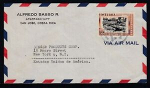 COSTA RICA Commercial Cover San José to New York City 20-1-1949 Cancel