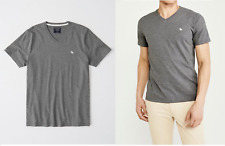 ABERCROMBIE & FITCH MEN'S ICON SHORT SLEEVE V-NECK TEE T-SHIRT HEATHER GREY L