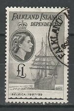 FALKLAND DEPENDENCIES 1954 QEII SHIP 1 POUND USED TOP VALUE