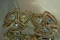 Sparkling Rhinestone Coro Signed Lovely Screw Back Earrings Vintage 1950's 857O9
