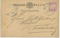 "BAYERN ""NEUSORG"" (Opf.) K1 5 Pf GA-Postkarte 1880 nach ""WUNSIEDEL"" K1, selten, R"