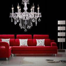 6 Feux Lampe pampilles Lustre Cristal Plafonnier Suspension Luminaire Ceiling